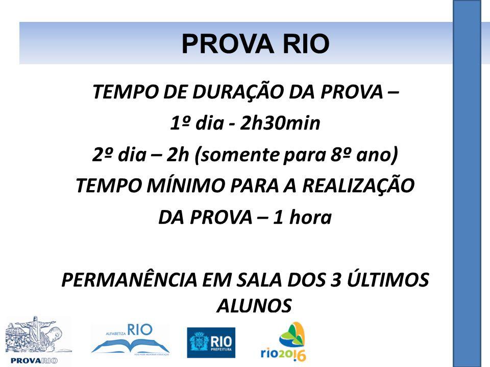 PROVA RIO TEMPO DE DURAÇÃO DA PROVA – 1º dia - 2h30min