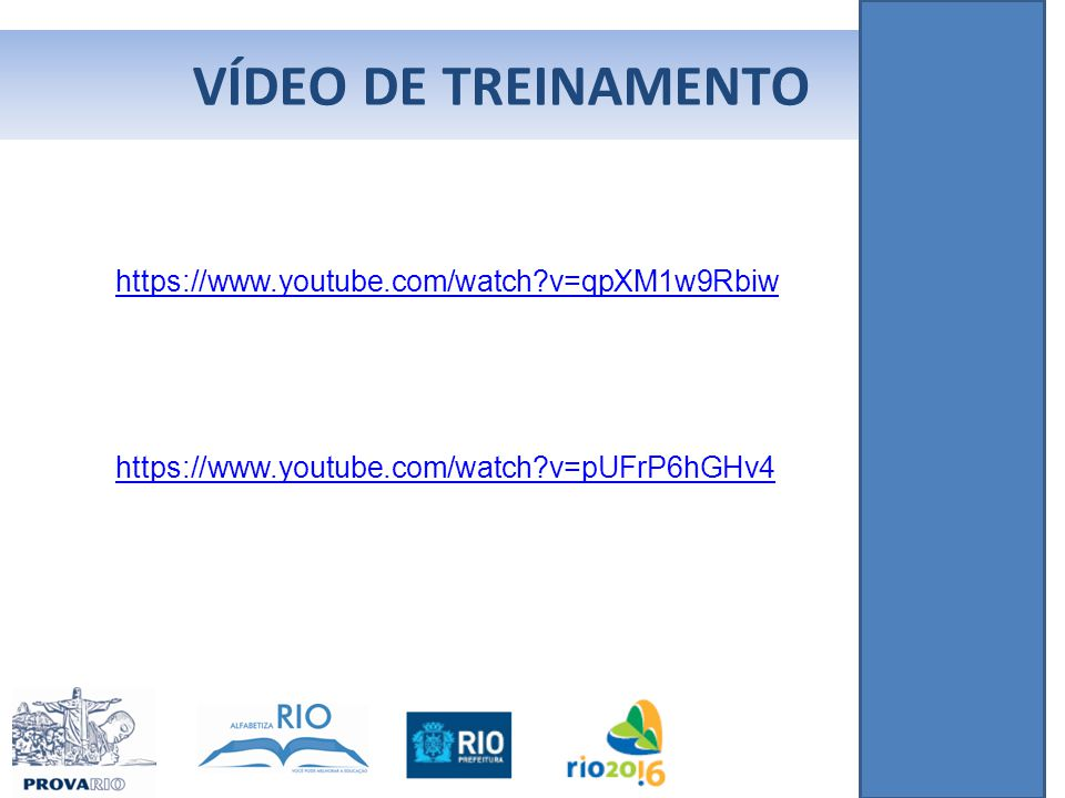 VÍDEO DE TREINAMENTO https://www.youtube.com/watch v=qpXM1w9Rbiw