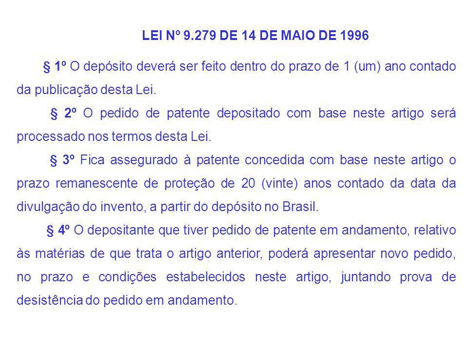 LEI Nº 9.279 DE 14 DE MAIO DE 1996 § 1º O depósito deverá ser feito dentro do prazo de 1 (um) ano contado da publicação desta Lei.