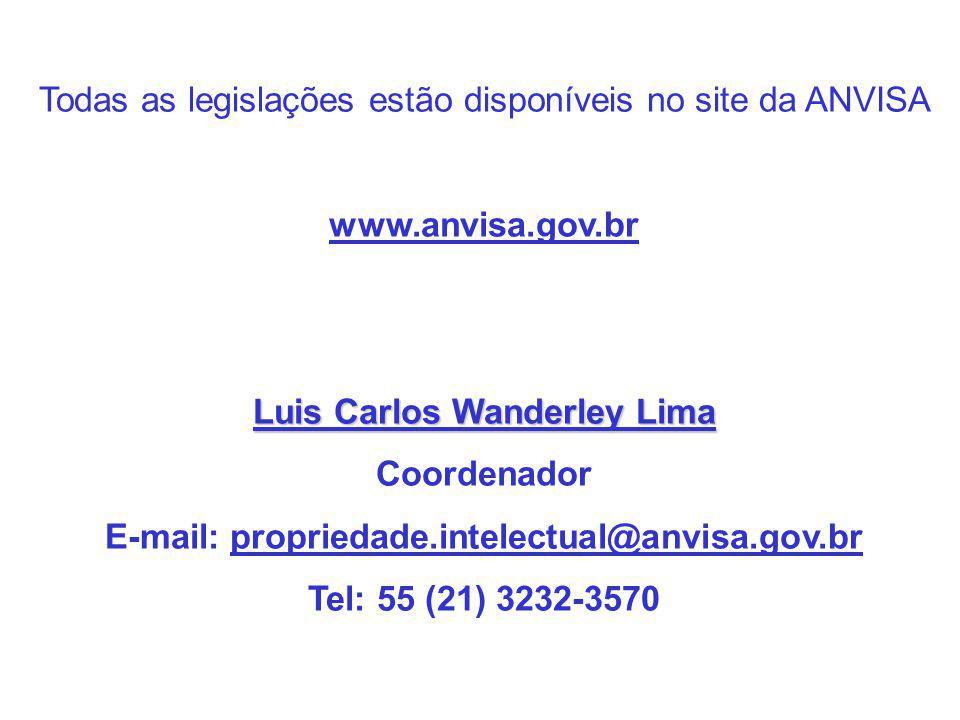 Todas as legislações estão disponíveis no site da ANVISA