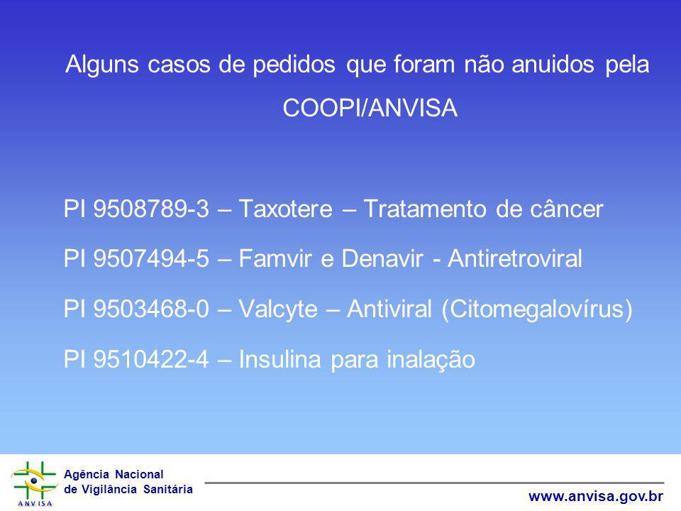 Alguns casos de pedidos que foram não anuidos pela COOPI/ANVISA