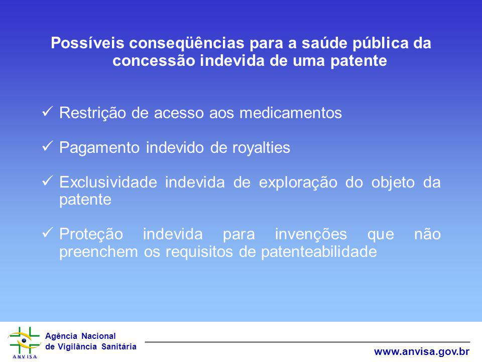 Possíveis conseqüências para a saúde pública da concessão indevida de uma patente