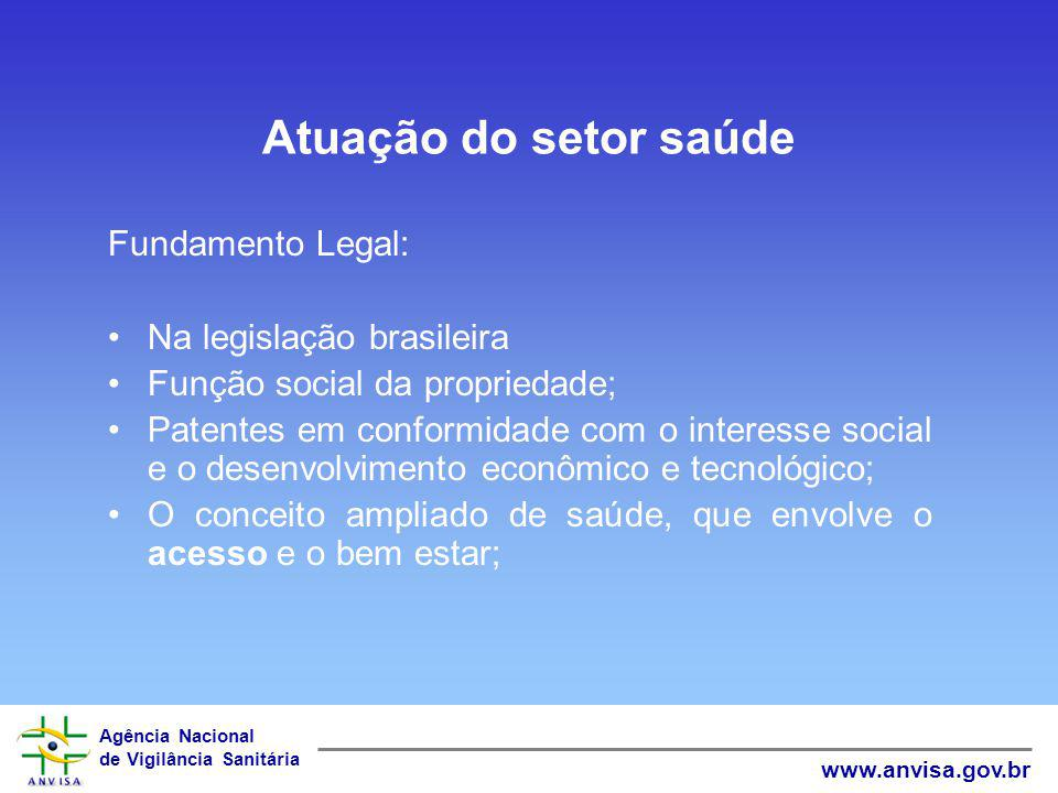 Atuação do setor saúde Fundamento Legal: Na legislação brasileira