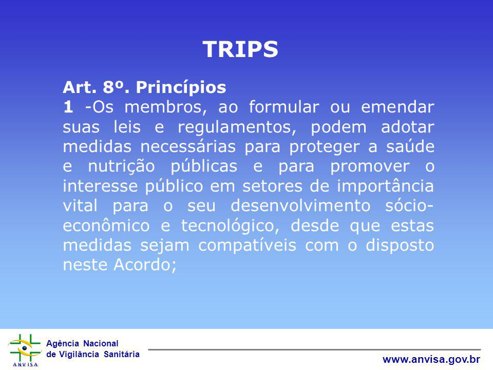 TRIPS Art. 8º. Princípios.