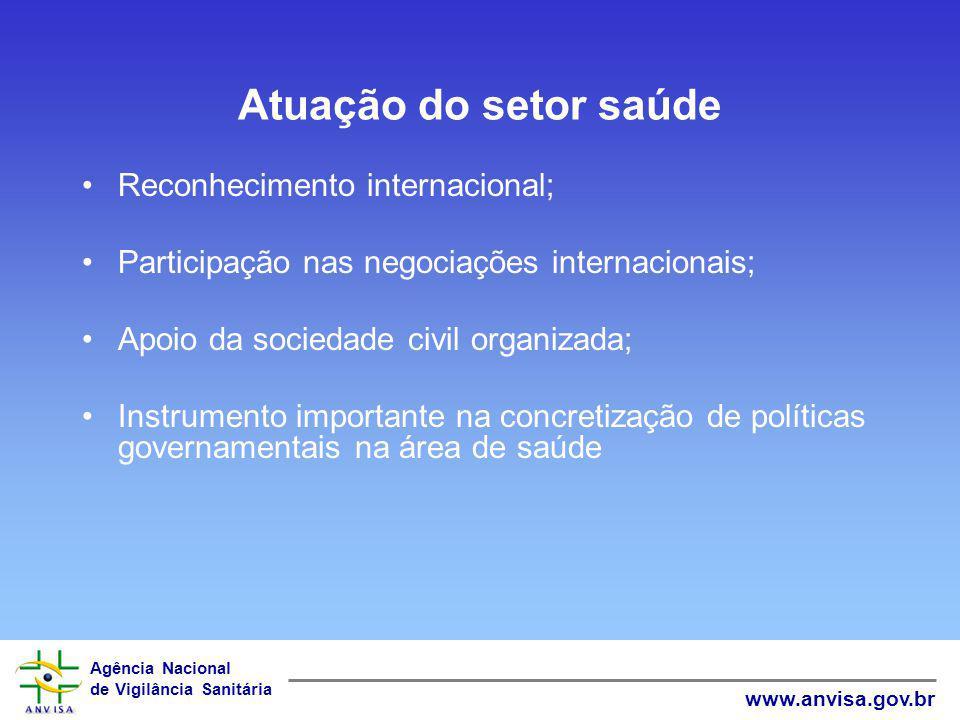 Atuação do setor saúde Reconhecimento internacional;