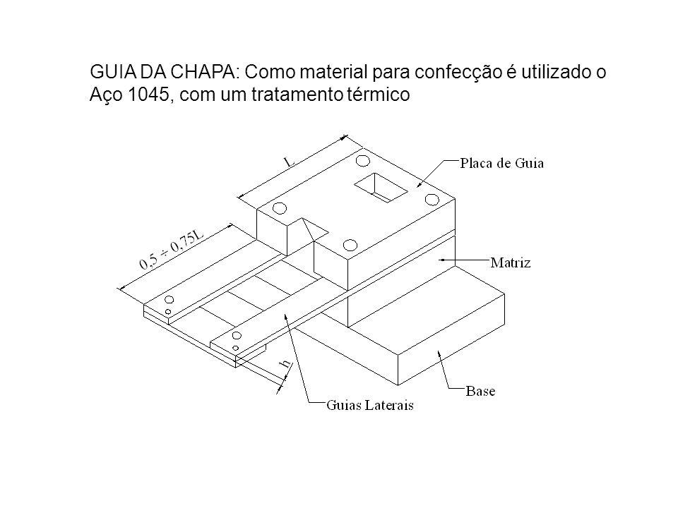 GUIA DA CHAPA: Como material para confecção é utilizado o Aço 1045, com um tratamento térmico