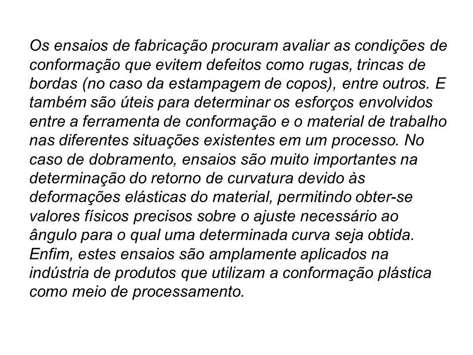 Os ensaios de fabricação procuram avaliar as condições de conformação que evitem defeitos como rugas, trincas de bordas (no caso da estampagem de copos), entre outros.