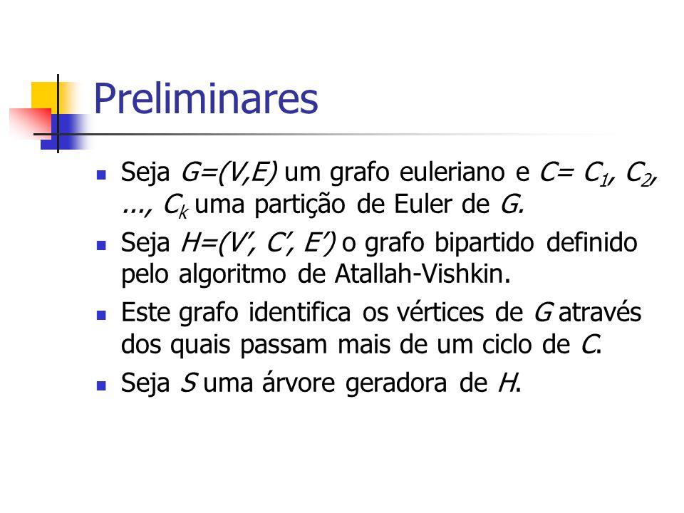 Preliminares Seja G=(V,E) um grafo euleriano e C= C1, C2, ..., Ck uma partição de Euler de G.