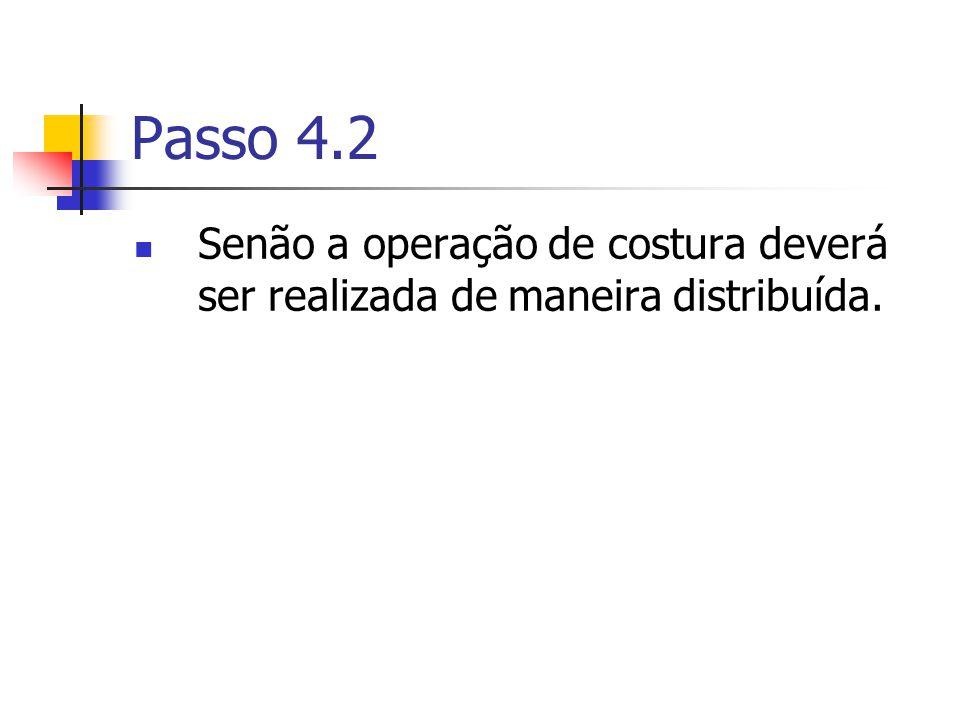 Passo 4.2 Senão a operação de costura deverá ser realizada de maneira distribuída.