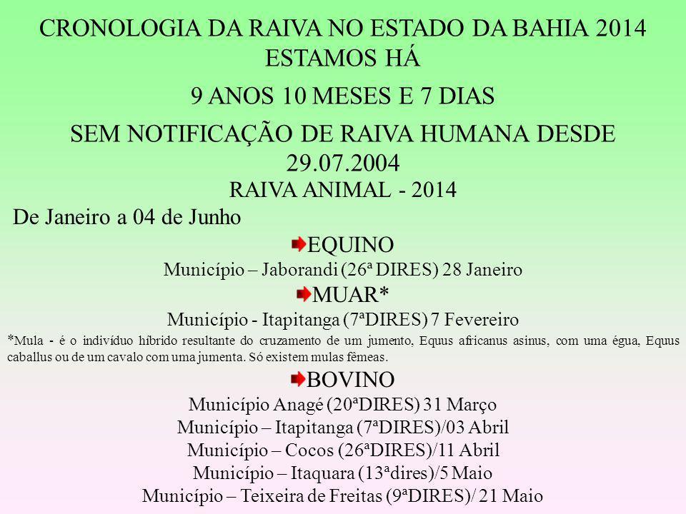 CRONOLOGIA DA RAIVA NO ESTADO DA BAHIA 2014 ESTAMOS HÁ