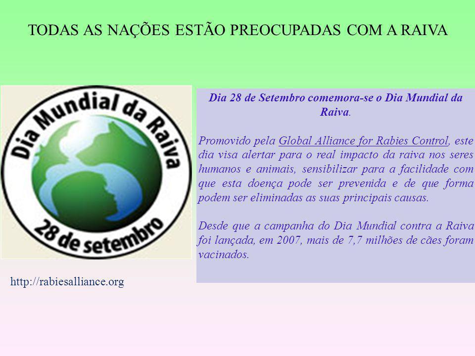 TODAS AS NAÇÕES ESTÃO PREOCUPADAS COM A RAIVA