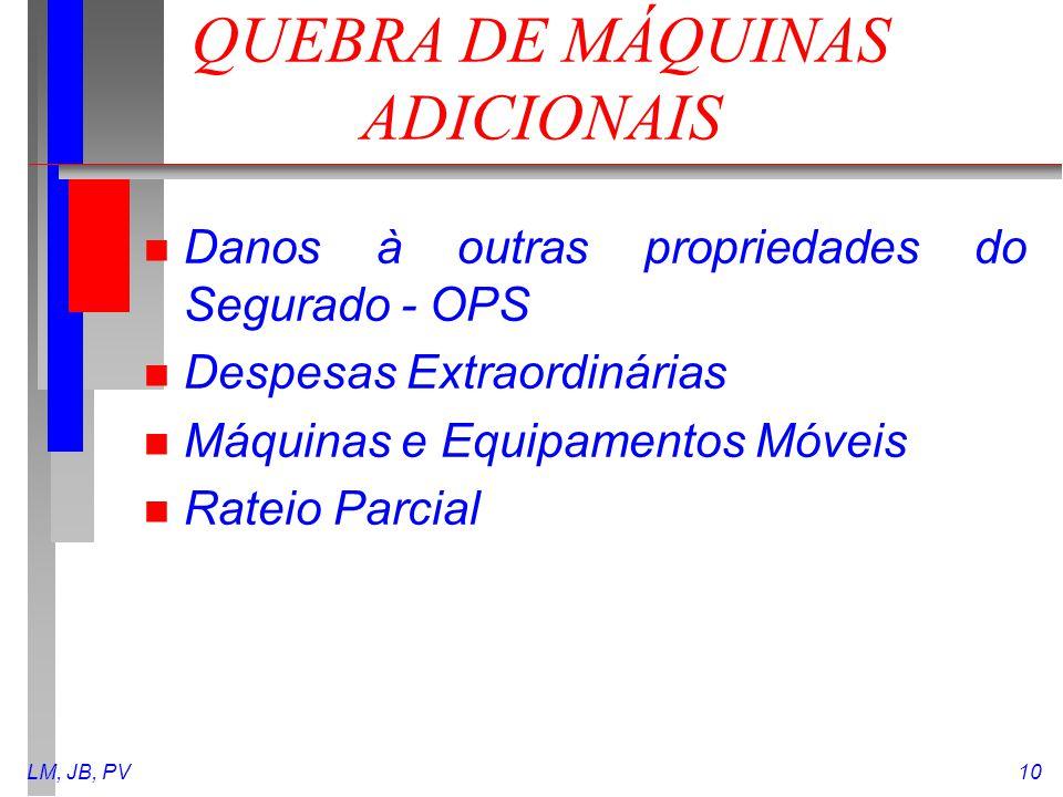 QUEBRA DE MÁQUINAS ADICIONAIS