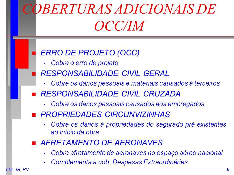 COBERTURAS ADICIONAIS DE OCC/IM