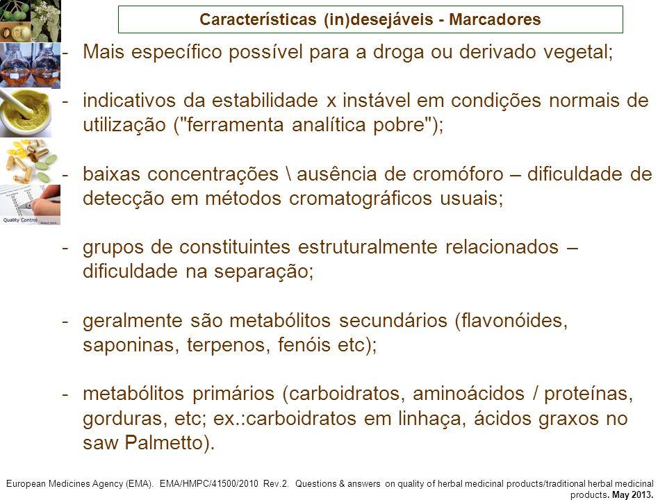 Características (in)desejáveis - Marcadores