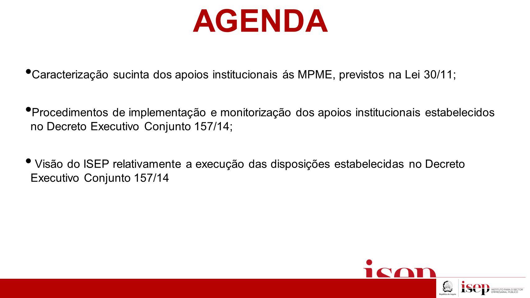 AGENDA Caracterização sucinta dos apoios institucionais ás MPME, previstos na Lei 30/11;