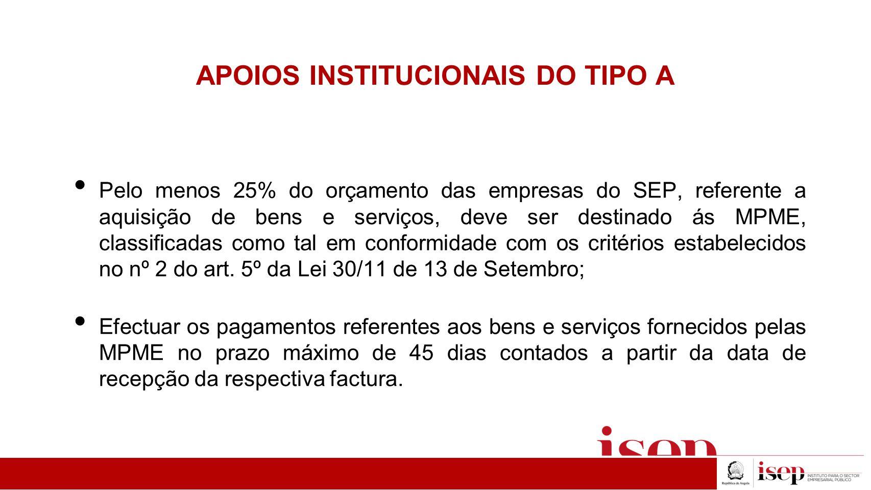 APOIOS INSTITUCIONAIS DO TIPO A