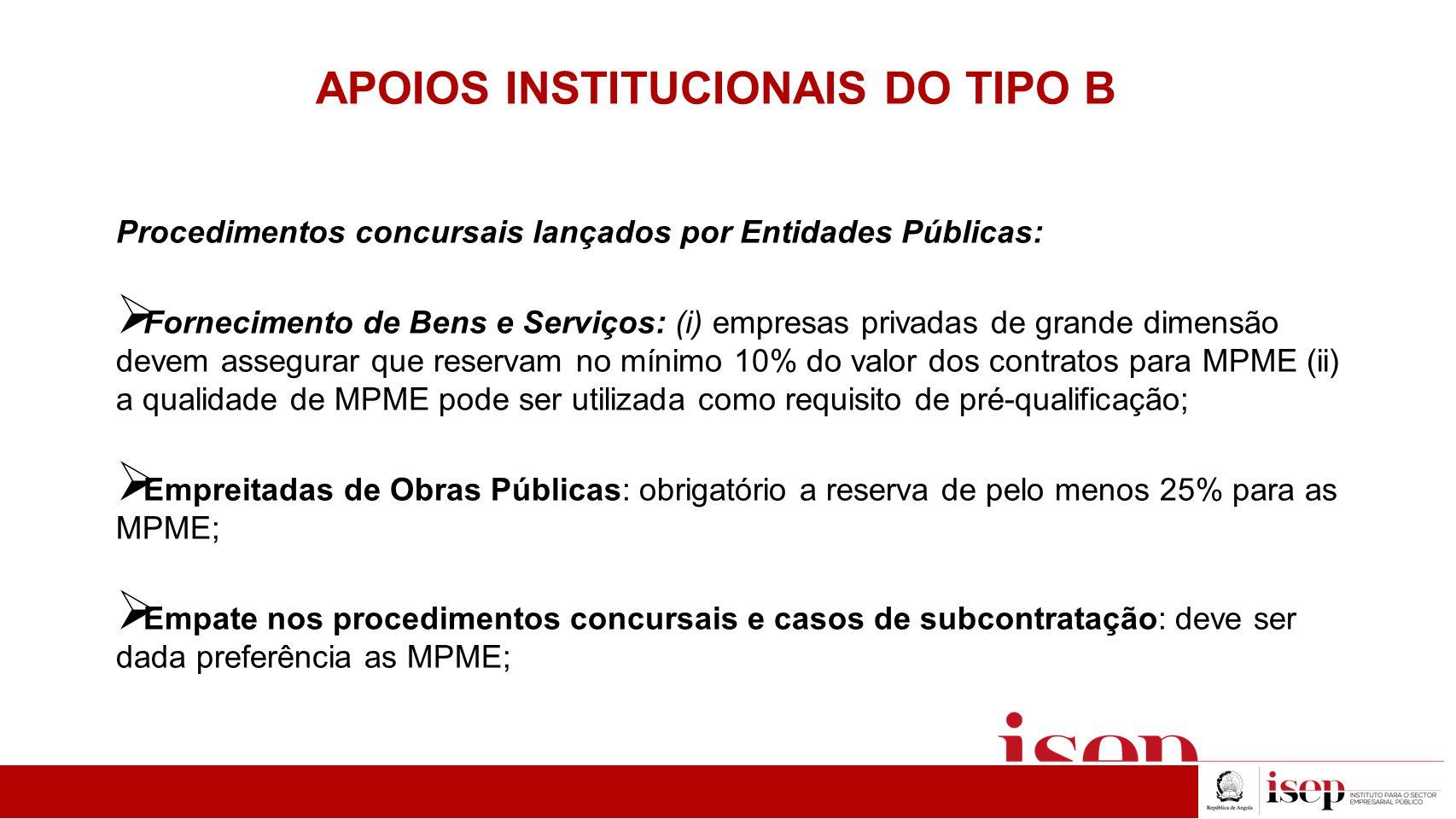 APOIOS INSTITUCIONAIS DO TIPO B