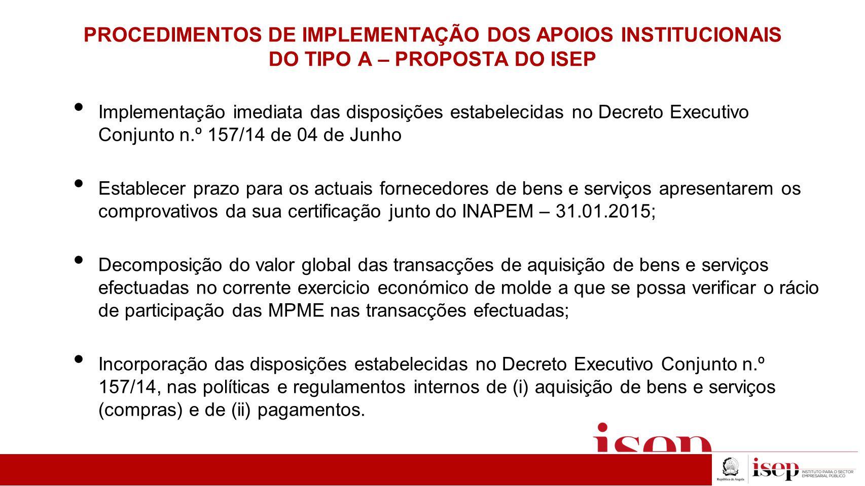PROCEDIMENTOS DE IMPLEMENTAÇÃO DOS APOIOS INSTITUCIONAIS DO TIPO A – PROPOSTA DO ISEP