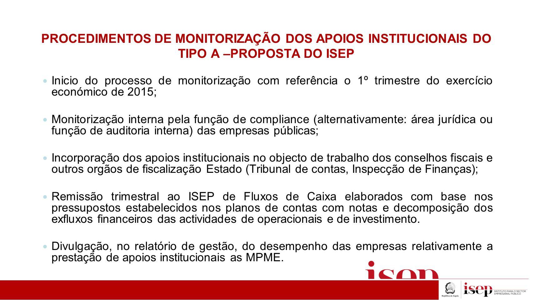 PROCEDIMENTOS DE MONITORIZAÇÃO DOS APOIOS INSTITUCIONAIS DO TIPO A –PROPOSTA DO ISEP