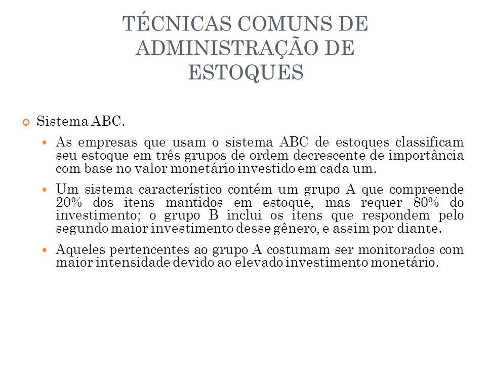 TÉCNICAS COMUNS DE ADMINISTRAÇÃO DE ESTOQUES