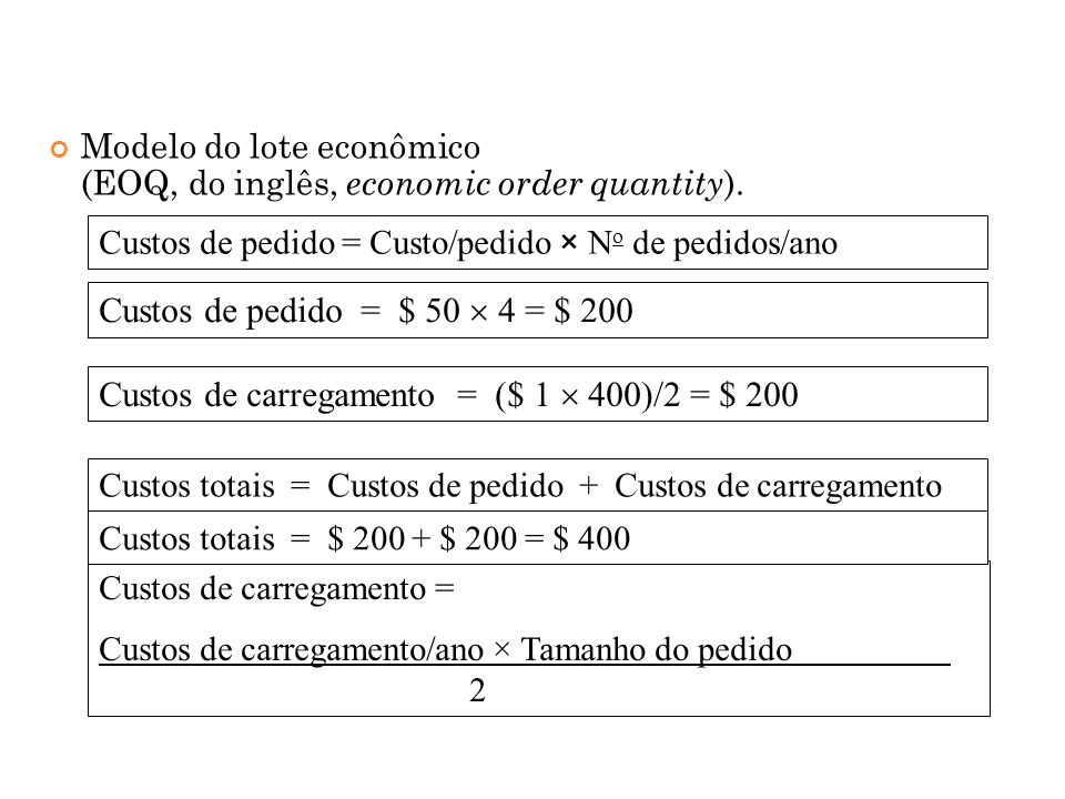 Custos de carregamento = ($ 1  400)/2 = $ 200