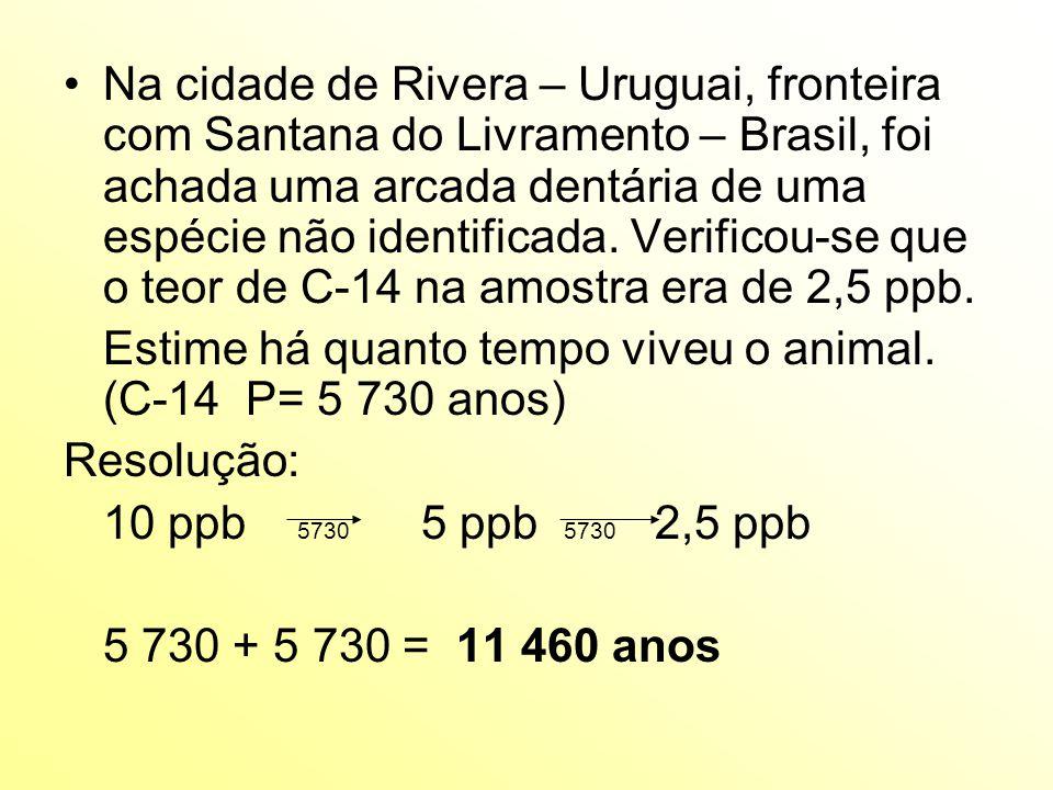 Na cidade de Rivera – Uruguai, fronteira com Santana do Livramento – Brasil, foi achada uma arcada dentária de uma espécie não identificada. Verificou-se que o teor de C-14 na amostra era de 2,5 ppb.
