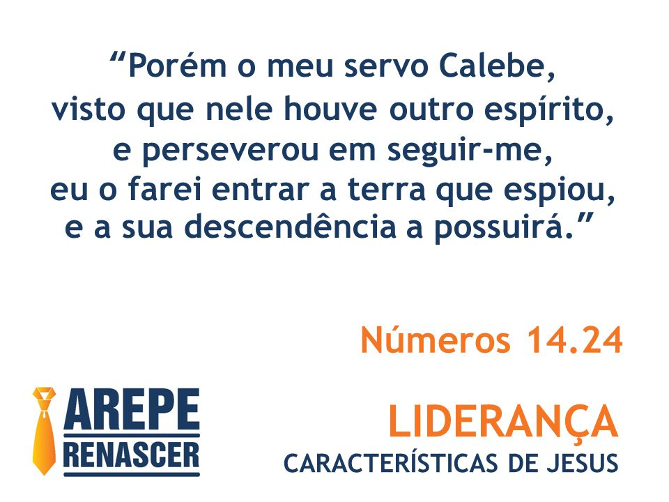 LIDERANÇA Números 14.24 Porém o meu servo Calebe,