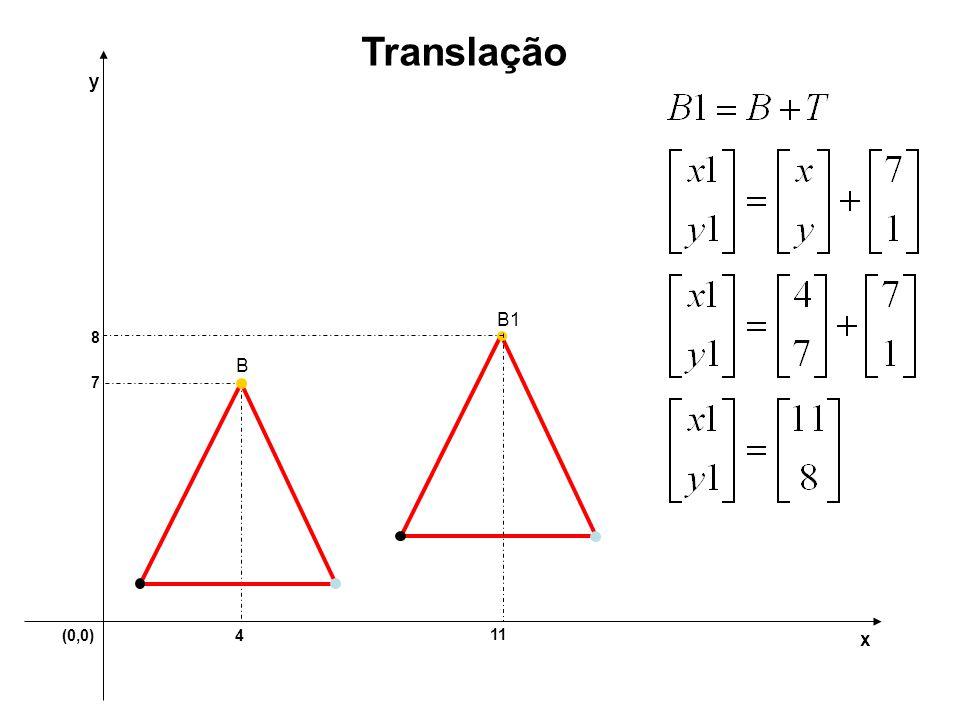 Translação y B1 8 B 7 (0,0) 4 11 x