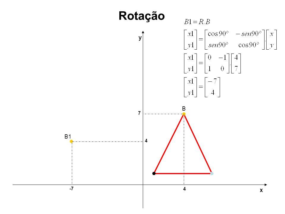 Rotação y B 7 B1 4 -7 4 x
