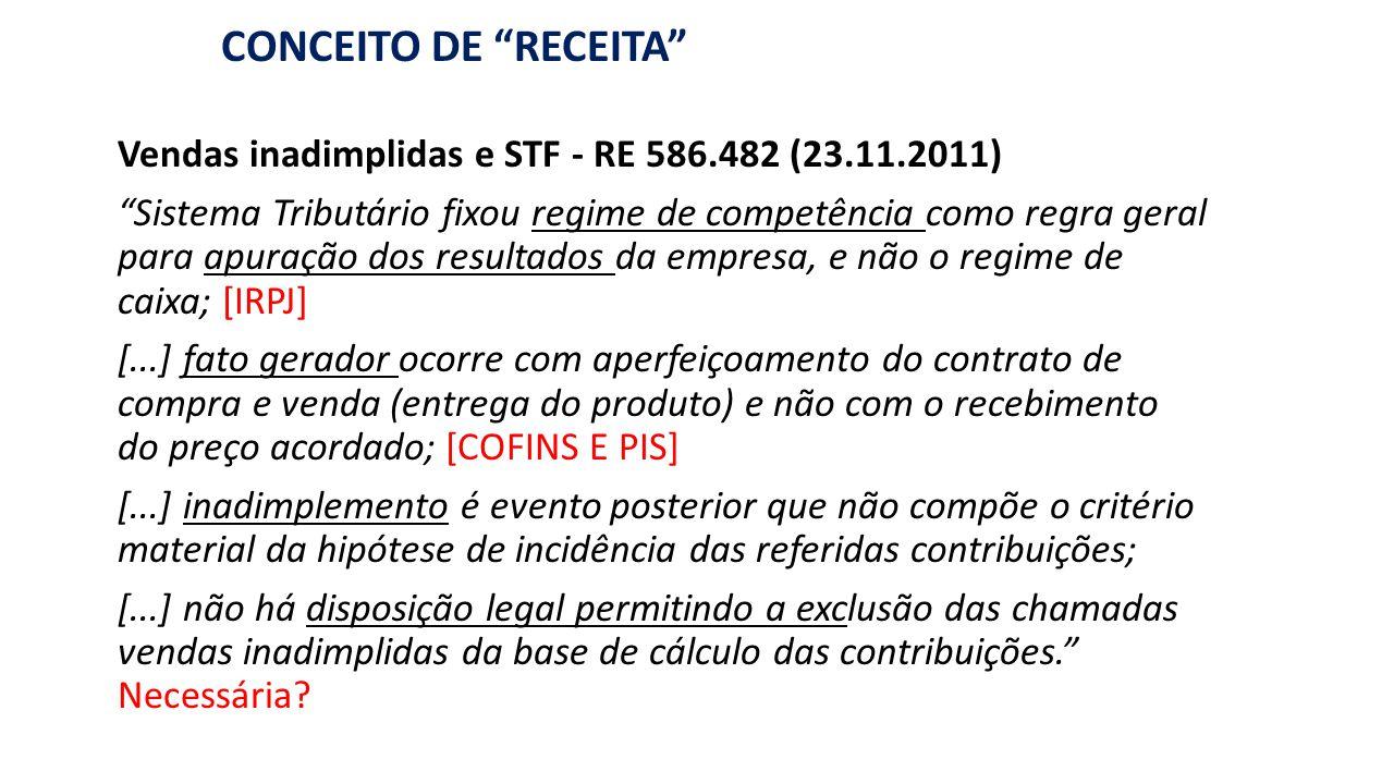RECEITA : BASE DE CÁLCULO DE PIS/COFINS