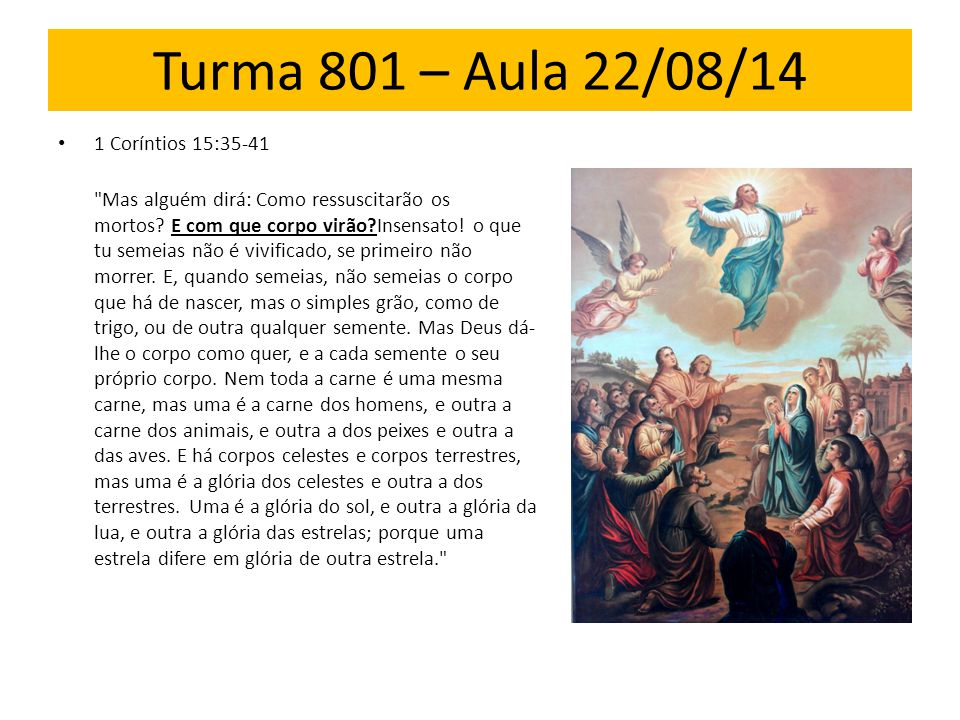 Turma 801 – Aula 22/08/14 1 Coríntios 15:35-41