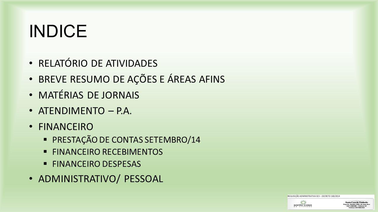 INDICE RELATÓRIO DE ATIVIDADES BREVE RESUMO DE AÇÕES E ÁREAS AFINS