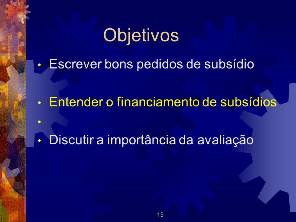 Objetivos Escrever bons pedidos de subsídio