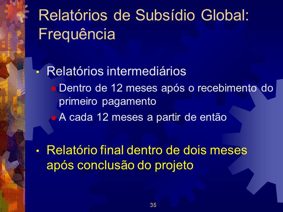 Relatórios de Subsídio Global: Frequência