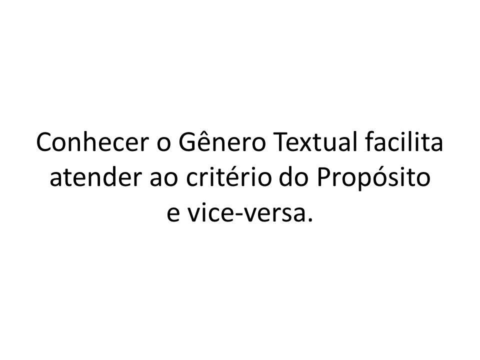 Conhecer o Gênero Textual facilita atender ao critério do Propósito e vice-versa.