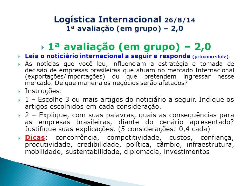 Logística Internacional 26/8/14 1ª avaliação (em grupo) – 2,0