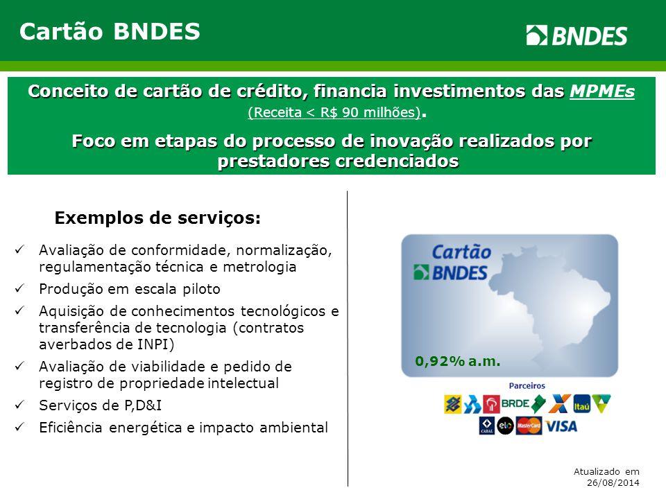 Cartão BNDES Conceito de cartão de crédito, financia investimentos das MPMEs (Receita < R$ 90 milhões).