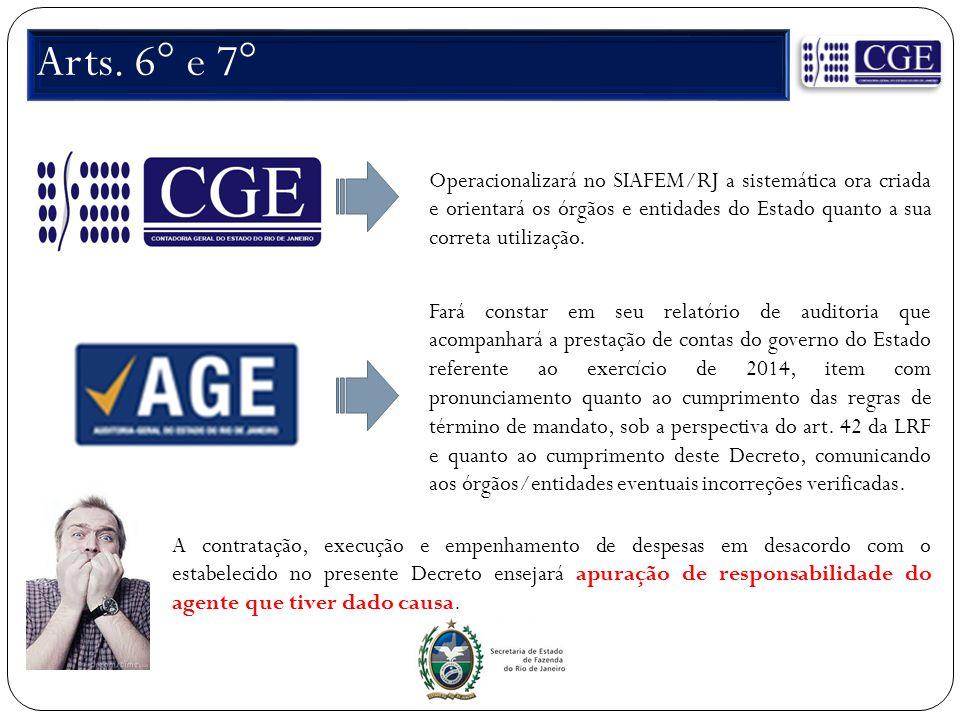 Arts. 6° e 7° Operacionalizará no SIAFEM/RJ a sistemática ora criada e orientará os órgãos e entidades do Estado quanto a sua correta utilização.