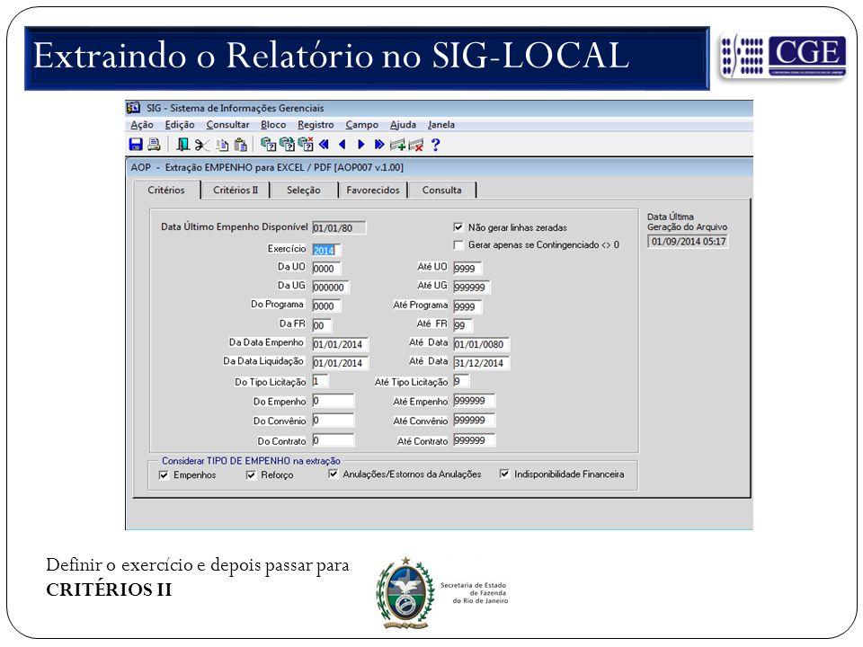Extraindo o Relatório no SIG-LOCAL