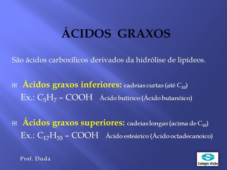 ÁCIDOS GRAXOS Ácidos graxos inferiores: cadeias curtas (até C10)