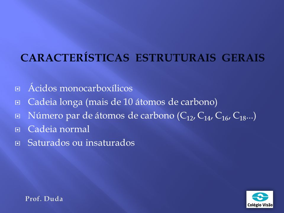 CARACTERÍSTICAS ESTRUTURAIS GERAIS