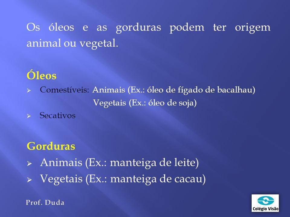Os óleos e as gorduras podem ter origem animal ou vegetal. Óleos