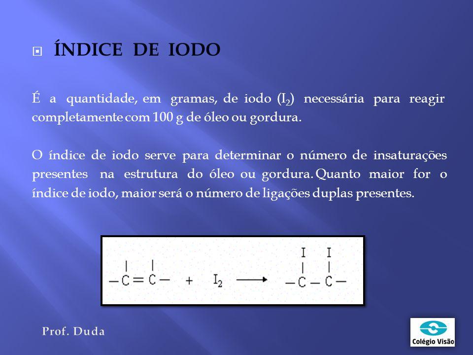ÍNDICE DE IODO É a quantidade, em gramas, de iodo (I2) necessária para reagir. completamente com 100 g de óleo ou gordura.