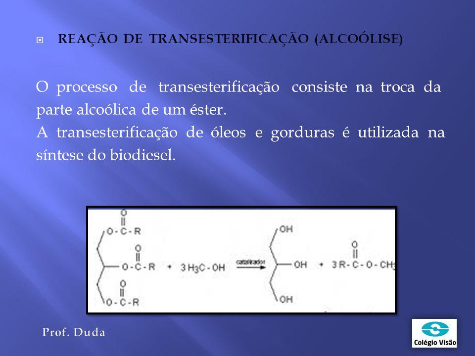 O processo de transesterificação consiste na troca da
