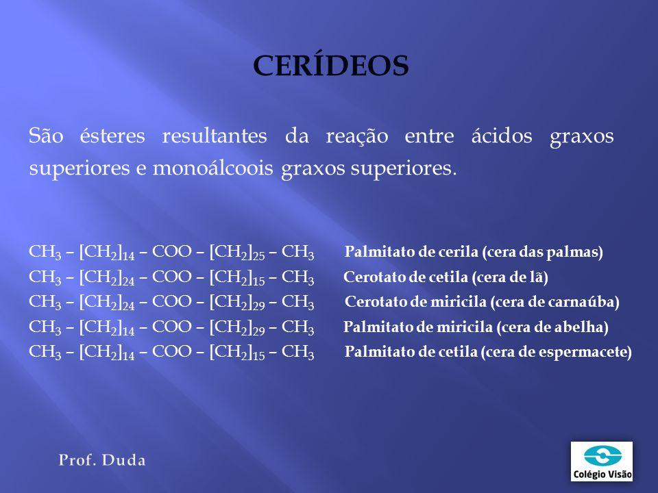 CERÍDEOS São ésteres resultantes da reação entre ácidos graxos