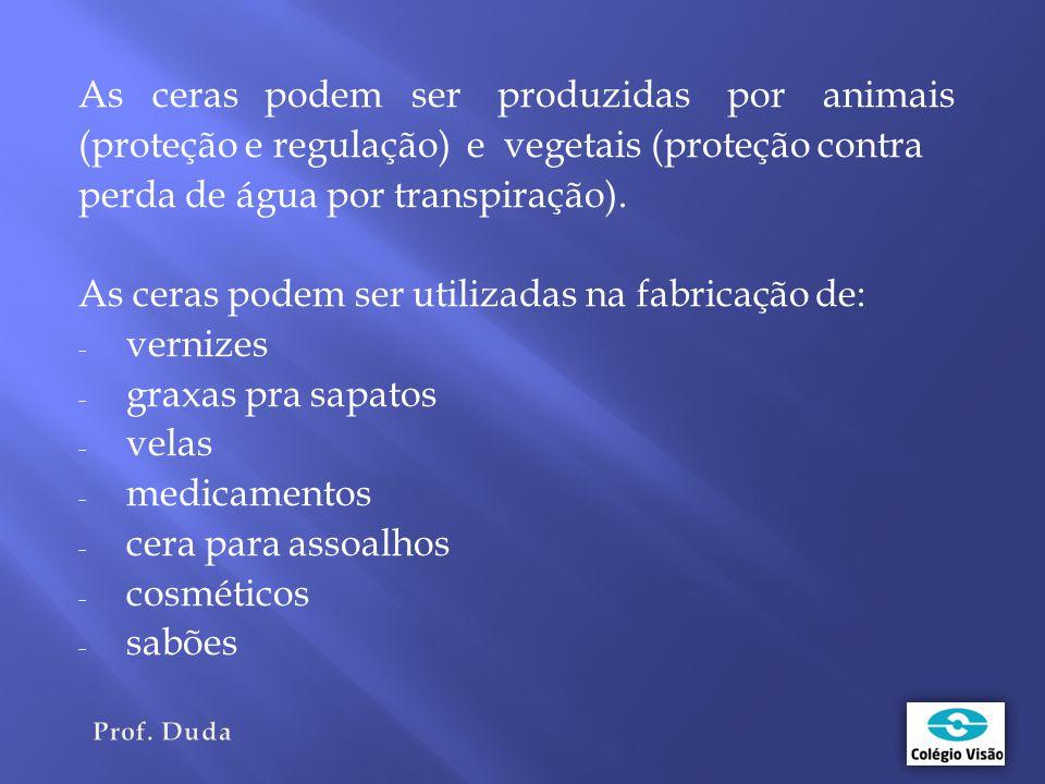 As ceras podem ser produzidas por animais