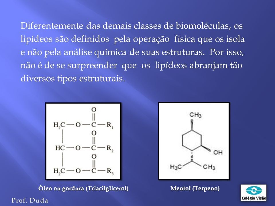 Diferentemente das demais classes de biomoléculas, os lipídeos são definidos pela operação física que os isola e não pela análise química de suas estruturas. Por isso, não é de se surpreender que os lipídeos abranjam tão diversos tipos estruturais.