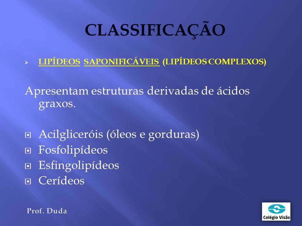 CLASSIFICAÇÃO Apresentam estruturas derivadas de ácidos graxos.