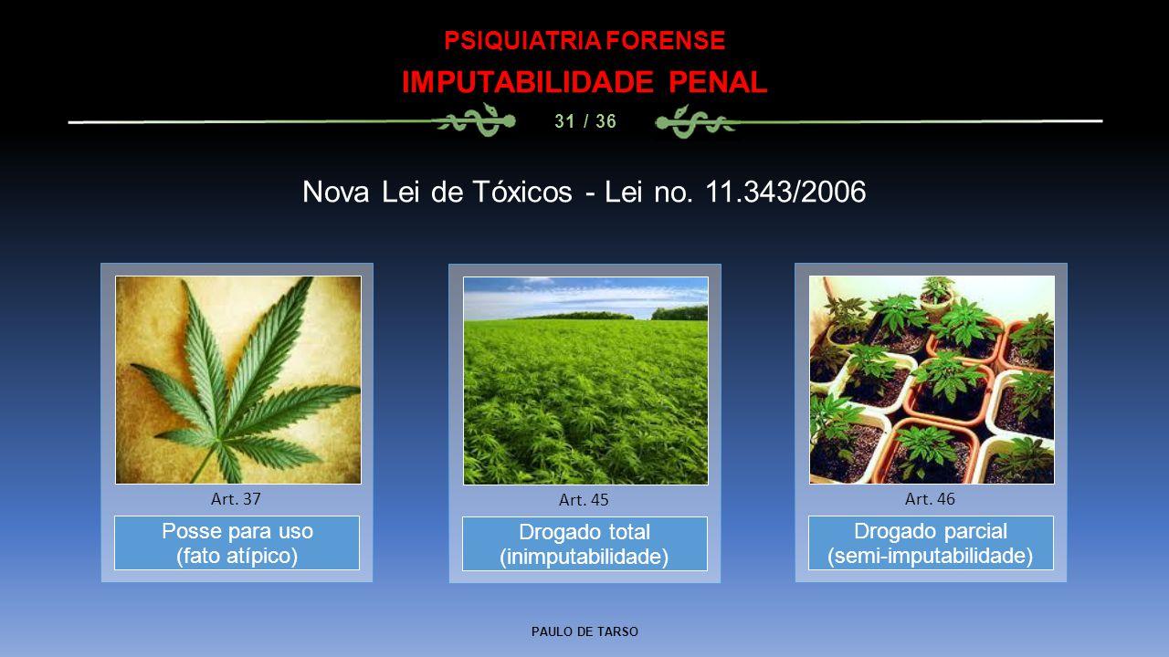 Nova Lei de Tóxicos - Lei no. 11.343/2006