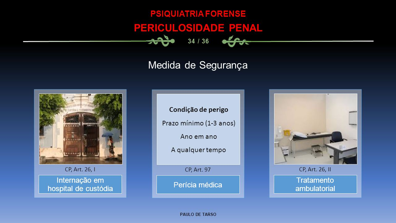 PERICULOSIDADE PENAL Medida de Segurança PSIQUIATRIA FORENSE